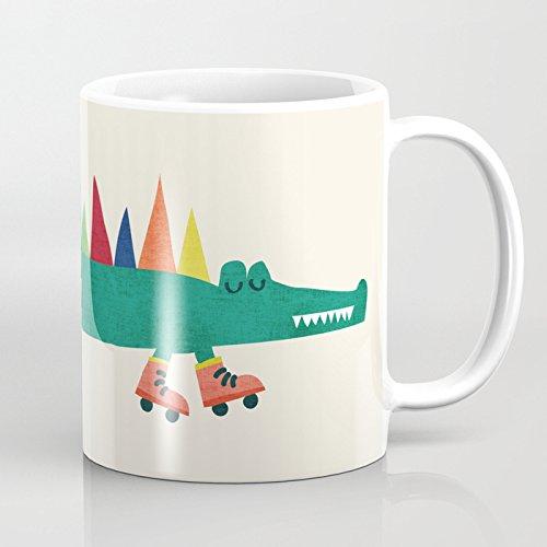 LVYZIHO Mug - Crocodile On Roller Skates Personalized Ceramic Coffee Mug White - Funny Wine Mug - 11OZ Coffee Mug - Perfect for Wedding Mothers Day Fathers Day or Friends