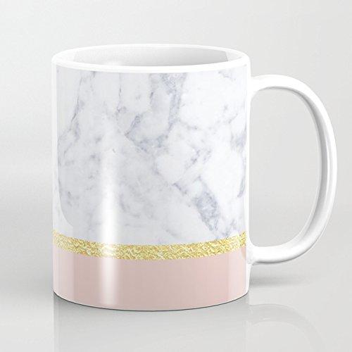LVYZIHO Mug - Marble Peach Personalized Ceramic Coffee Mug White - Funny Wine Mug - 11OZ Coffee Mug - Perfect for Wedding Mothers Day Fathers Day or Friends