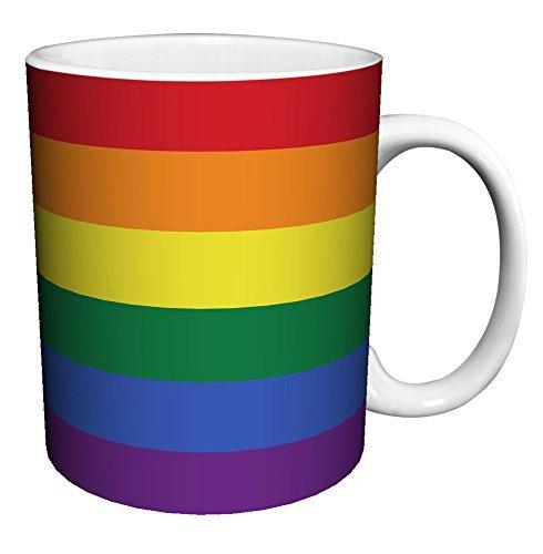 Gay Pride Rainbow Flag Decorative Coffee Mug White Ceramic Novelty Funny 11oz Tea Cup Christmas Gifts