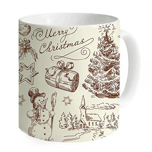 HANHAOKI Retro Christmas Ornaments Decorative Coffee Mug
