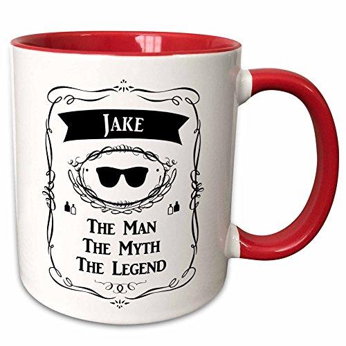 3dRose 232299_5Jake-The Man The Myth The Legend Name Personalized Gift Ceramic Mug 11 oz RedWhite