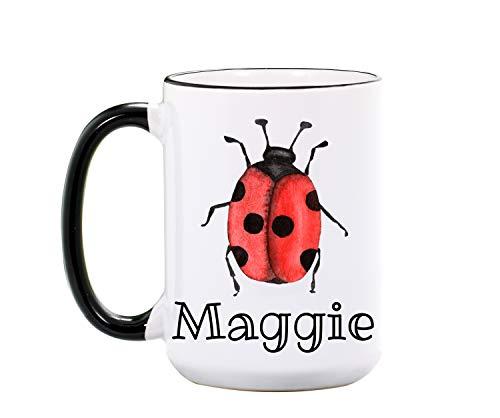 Ladybug Mug - Personalized Large 15 oz or 11 oz Ceramic Cup - Ladybug Lover Gift - Ladybug Gift - Ladybugs Coffee Mugs - Dishwasher Microwave Safe - Made In USA