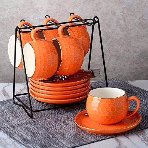 Yosou Home 7OZ Cappuccino Coffee Mug Set Of 6 With SaucerSpoonHolder Colorful Coffee Cup Orange