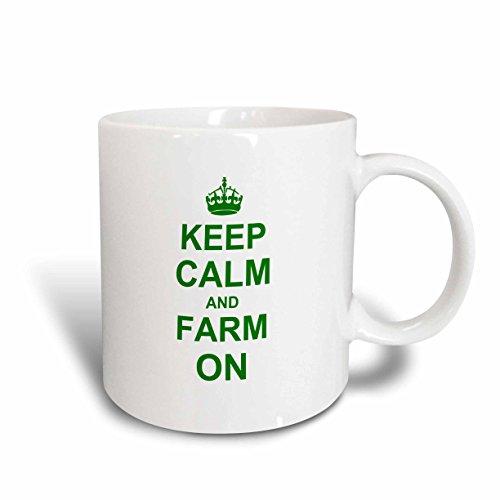 3dRose mug_157716_2 Keep Calm and Farm on Carry on Farming Gift for Farmers Green Humorous Ceramic Mug 15-Ounce White