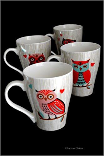 Set 4 Assorted Design 12oz Bone China Colorful Owls Wood Grain Tea Coffee Mugs