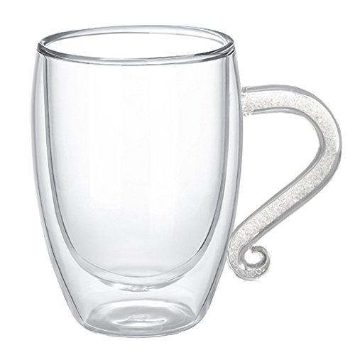 10 Ounces Double Wall Cups Glass Coffee Cup Mug Countless K9 Crystal Rhinestones Filled Handgrip