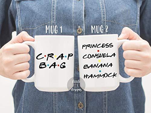 Friends theme Gift Set - Crap Bag Princess Consuela Banana Hammock - Ceramic Coffee Mug Set Of 2 White 15 Oz