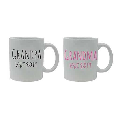 Grandpa  Grandma Established EST 2019 11-Ounce White Ceramic Coffee Mugs Set