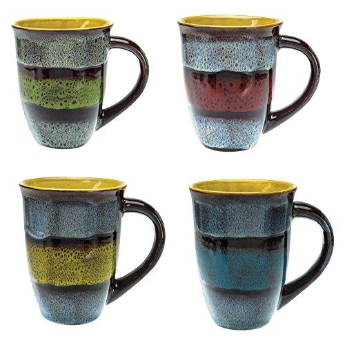 Mug Creative Glazed Ceramic Coffee Mugs Set of 4 - Unique Ceramic Glazed Coffee and Tea Cups 14 Ounce