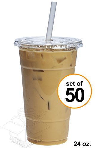 COMFY PACKAGE 50 Sets 24 oz Plastic CRYSTAL CLEAR Cups with Flat Lids for Cold Drinks Iced Coffee Bubble Boba Tea Smoothie etc