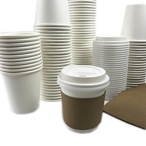 Black Cat Avenue 10 oz Disposable Hot Coffee Paper Cups with Lids and Sleeves 50 Sets