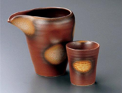 RED-GLAZE-GREY-BLOW Jiki Japanese Porcelain SAKE Set