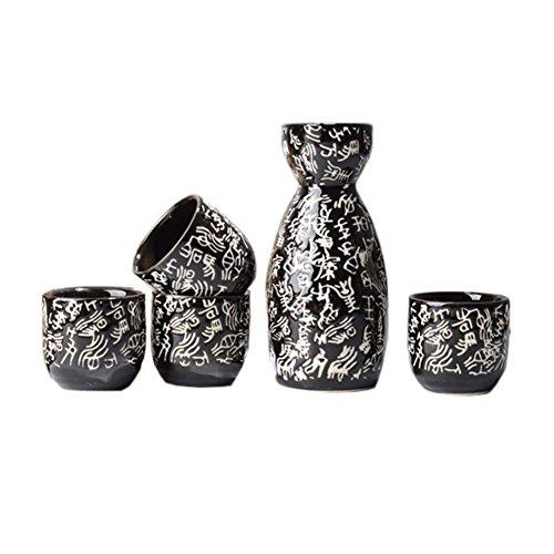 FANCY PUMPKIN Japanese Ceramic Sake Bottle Cups Sets Sake Flask for Sushi Bar 01