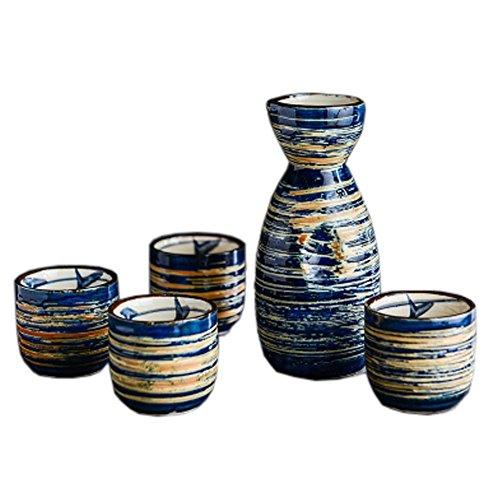 FANCY PUMPKIN Japanese Ceramic Sake Bottle Cups Sets Sake Flask for Sushi Bar 02