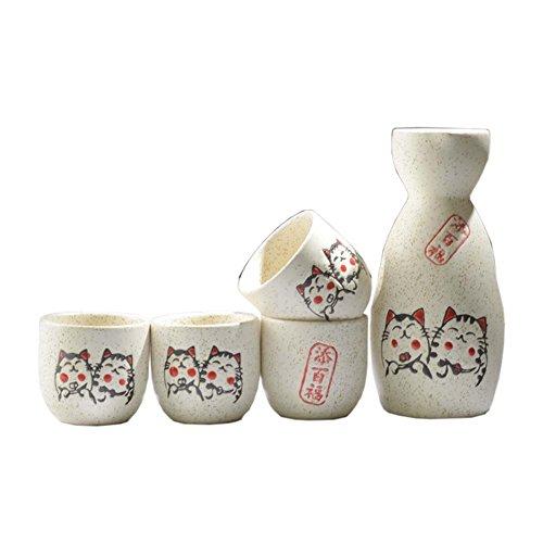 FANCY PUMPKIN Japanese Ceramic Sake Bottle Cups Sets Sake Flask for Sushi Bar 10
