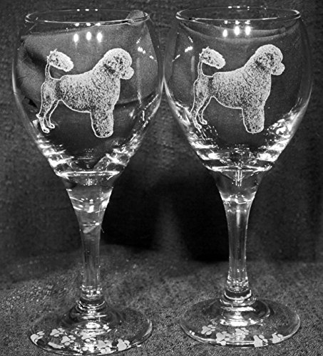 Portuguese Water Dog Laser Etched Wine Glass Set 2 TDW