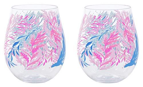 Lilly Pulitzer Acrylic Wine Glass Set Kaleidoscope Coral One Size