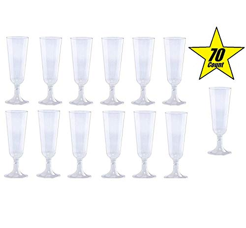 70pc Glitter Plastic Classicware Glass Like Champagne Wedding Parties Toasting Flutes Party Cocktail Cups Clear