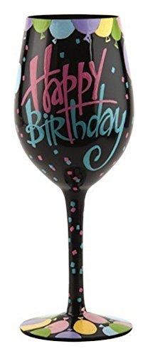 Lolita Happy Birthday Balloons Hand Painted Wine Glass