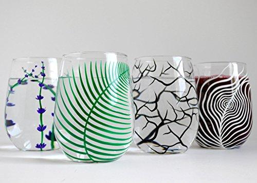 Stemless Wine Glass Sampler Set of 4 Hand Painted Wine Glass Collection Stemless Glass Gift Set