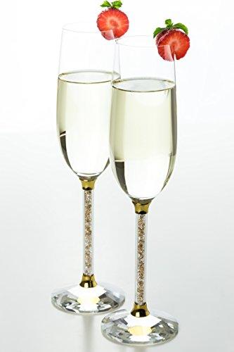 Champagne Flutes- Crystal Stemmed Glassware Set Gold