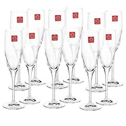 RCR Cristalleria Italiana Toscana Crystal Champagne Flutes Crystal Champagne Glasses Set of 12