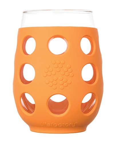 Lifefactory 11-Ounce BPA-Free Indoor and Outdoor Wine Glass 2-Pack with Protective Silicone Sleeve Orange