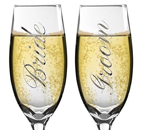 Bride and Groom Champagne Glasses - Set of 2 Elegant Toasting Flutes - Silver Wedding Champagne Glass Set - Wedding Glasses