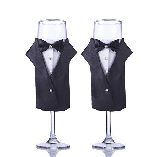 Gay Romance Wedding Gift-ULA Tuxedo and Tuxedo Champagne Glass Unique Wedding Couple GiftSet of 2