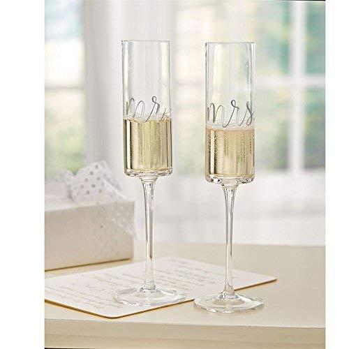 Mud Pie 4465069 Mrs Wedding Champagne Glass Set One Size Black