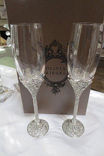 Olivia Riegel Windsor Crystal Wedding Champagne Toasting Flute Glasses Set of 2