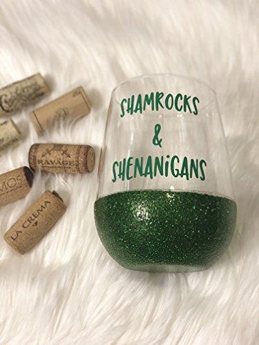 Shamrocks Shenanigans Glitter Wine Glass St Patricks Day Wine Glass Green Glittered Wine Glass St Pattys Day Party Favors Kiss Me Im Irish Wine Glass