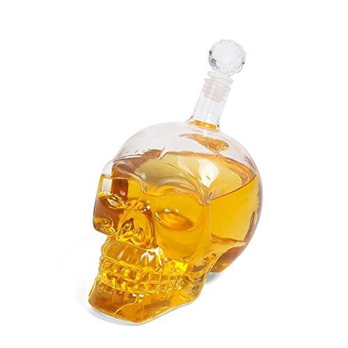 BleuMoo Crystal Skull Head Vodka Shot Whiskey Wine Drinking Glass Bottle Wine Decanter