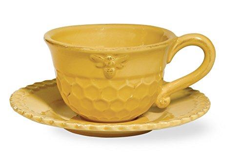 Boston International Honeycomb Ceramic Teacup and Saucer Honey