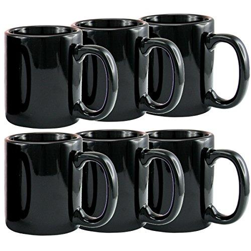 Creative Home 12 oz ceramic Tea Cup Coffee Mug Set of 6 Black