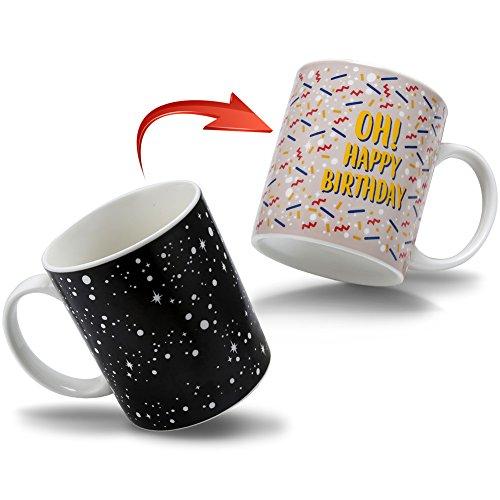 Heat Color Changing Mug Morning Coffee Mug Funny Magic Heat Sensitive Ceramic Tea Cup Novelty Coffee Mugs Birthday Gifts for FriendsBoyfriend Girlfriend Mom 12 OZ - OH HAPPY BIRTHDAY