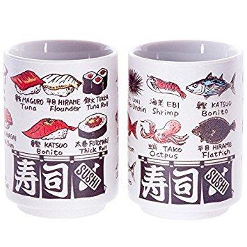 Japanese tea cup Sushi-yunomi ceramic printed sushi and fish names and by English and Kanji set of 2