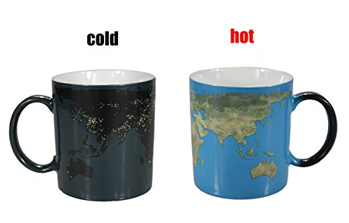 Natural art - Heat Changing Coffee Mugs Day and Night Earth Map Heat Sensitive Ceramics Tea Cup