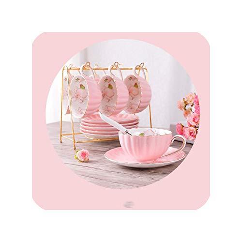 Kitchen Accessories Bone China Ceramics Coffee Cup Set Elegant Home Flower Tea Cup Organizer English Afternoon Tea Red Tea Cup6Pcs-A