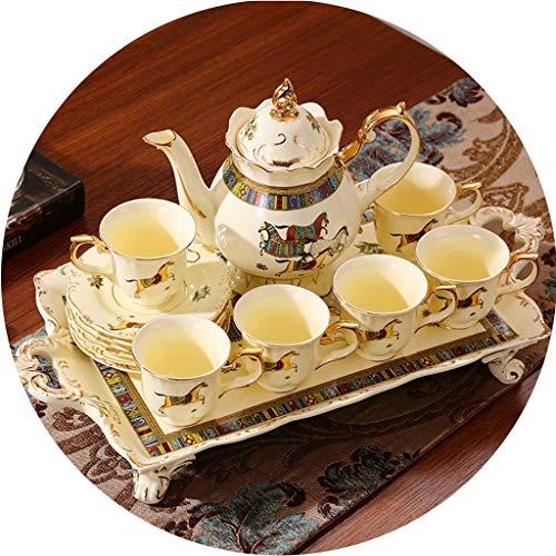 Tea Sets Tea Set Set Household Tea Tray European Style Tea Set Small Luxury Afternoon Red Tea Cup Teapot Ceramic English Coffee Cup Set Color  Beige Size  1188cm