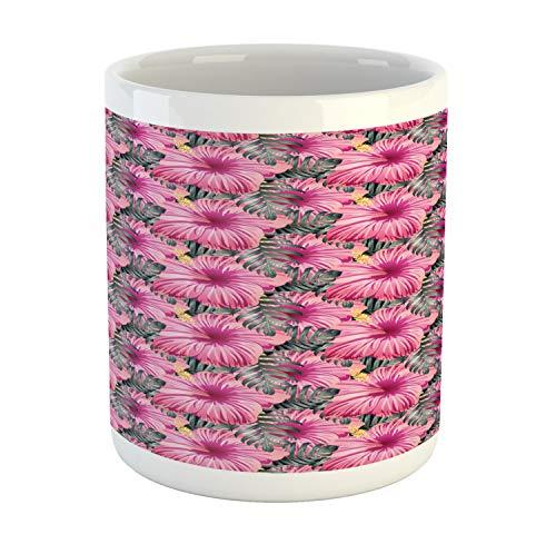 Lunarable Hibiscus Mug Exotic Macro Vista Tropical Bouquet Image Ceramic Coffee Mug Cup for Water Tea Drinks 11 oz Pale Pink Dark Magenta Pale Reseda Green Grey Teal