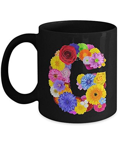 Floral Mugs for Women - Alphabet Coffee Mugs Flowers Black Ceramic – Letter G