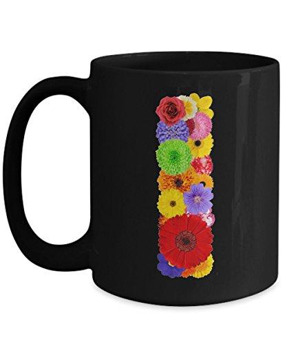 Floral Mugs for Women - Alphabet Coffee Mugs Flowers Black Ceramic – Letter I