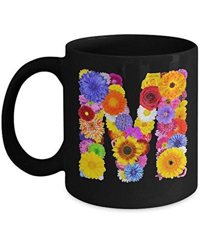 Floral Mugs for Women - Alphabet Coffee Mugs Flowers Black Ceramic – Letter M