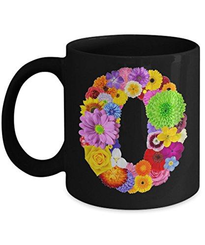Floral Mugs for Women - Alphabet Coffee Mugs Flowers Black Ceramic – Letter O