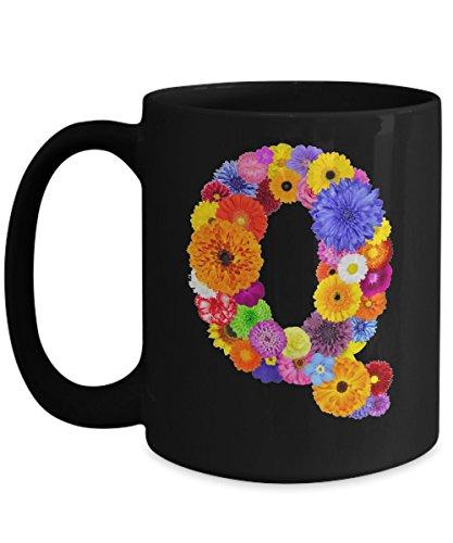 Floral Mugs for Women - Alphabet Coffee Mugs Flowers Black Ceramic – Letter Q