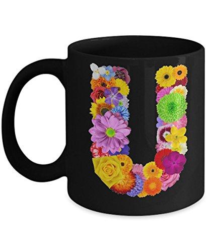 Floral Mugs for Women - Alphabet Coffee Mugs Flowers Black Ceramic – Letter U