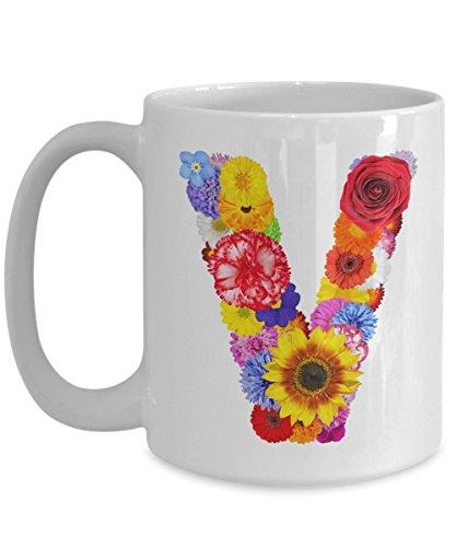 Floral Mugs for Women - Alphabet Coffee Mugs Flowers White Ceramic – Letter V