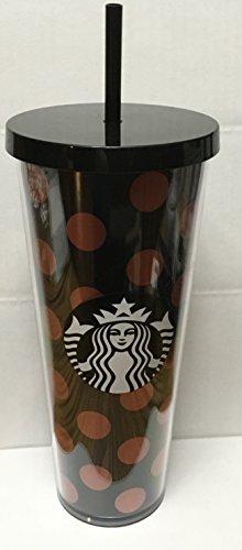 Starbucks Venti Black Rose Gold Polka DOT Holiday 2017 Cold Cup Tumbler 24Oz