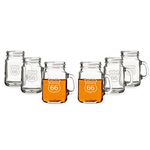 Cathys Concepts Route 66 Mini Drinking Jar Shot Glasses Set of 6 Clear